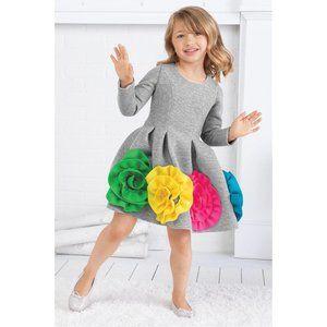 Halabaloo Ruffle Flower Scuba Dress Girls 8